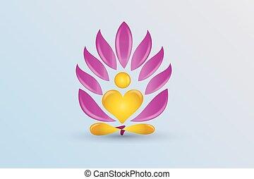 lótusz, jel, virág, jóga