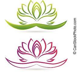 lótusz, jel, virág, vektor
