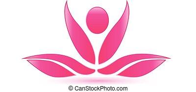 lótusz, rózsaszínű, jóga, alak, jel