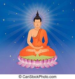 lótusz, thai ember, virág, buddha