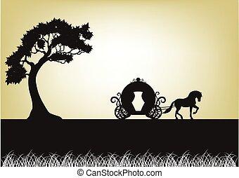 lóvontatású, árnykép, fa