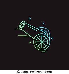 löveg, vektor, tervezés, ikon