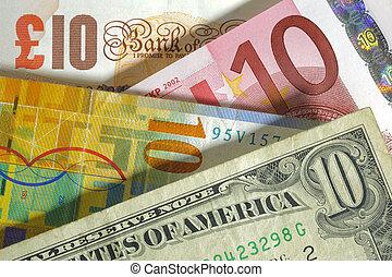lövet, anglia, frank, usa, pénznem, dollár, euro, európa, svájci