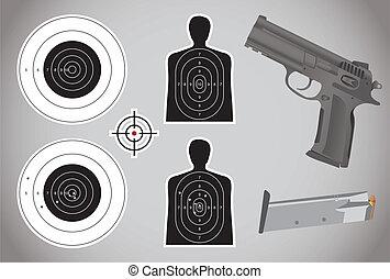 lőszer, pisztoly, -, céltábla, ábra