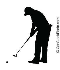 labda, árnykép, -, sport, feltétel, gördülő, golf, golfjátékos