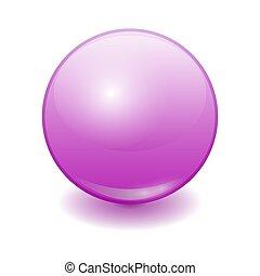 labda, bíbor, műanyag, gyakorlatias, vektor, szín