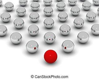 labda, elülső, herék, kicsi, sor, fényes, piros