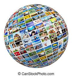 labda, elhelyez, földgolyó, emberek, mozi, természet, különféle, kifogásol