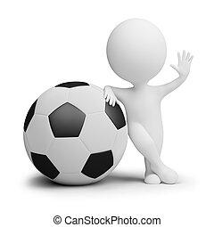 labda, emberek, nagy, -, játékos, kicsi, futball, 3