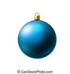 labda, fény, white christmas, elszigetelt, kék, elkészített, jégvirágos üveg, háttér.