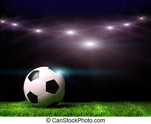 labda, futball, fű, fekete, ellen