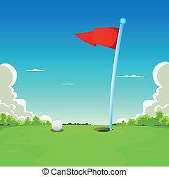 labda, golf, -, lobogó, kifejez zöld