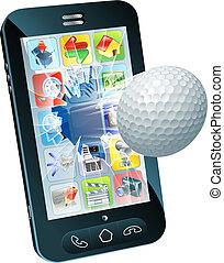 labda, golf, mozgatható, repülés, telefon, ki