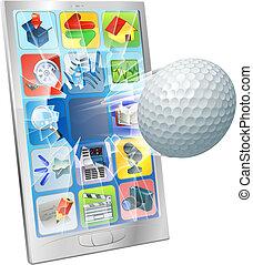 labda, golf, repülés, sejt telefon, ki