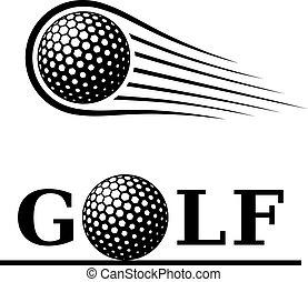 labda, golf, szöveg, jelkép, indítvány, egyenes