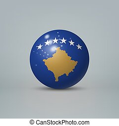 labda, gyakorlatias, vagy, kosovo, lobogó, műanyag, 3, sima, gömb