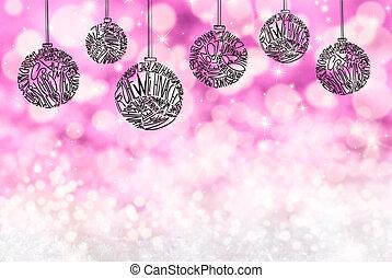 labda, hely, bíbor, díszítés, fa, háttér, fény, másol, karácsony