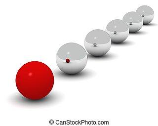 labda, herék, elülső, egyenes, fényes, piros