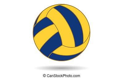 labda, kék, póló, elszigetelt, árnyék, sárga, víz, white háttér