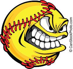labda, kép, softball labdajáték, gyorsan, arc, vektor, bukdácsolás, karikatúra
