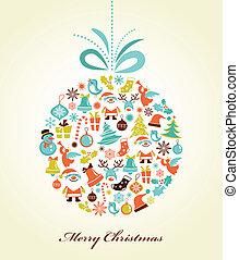 labda, karácsony, karácsony, háttér, retro