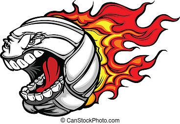 labda, lángoló, röplabda, arc, vektor, visító, karikatúra