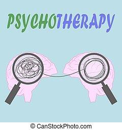 labda, lélektan, concept., ábra, összegubancolódott, depression., head., pszichoterápia, ember, illustration.