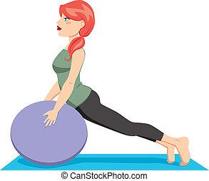 labda, pilates, gyakorlás