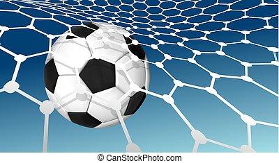 labda, repülés, kék, goal., vektor, ég, ábra, net., gól, háttér, futball nettó