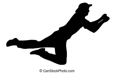 labda sport, mezőnyjátékos, -, fertőző, krikett, árnykép