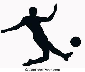 labda sport, -, socer, játékos, rúgás, árnykép