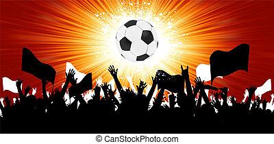 labda, tolong, fans., eps, körvonal, 8, futball