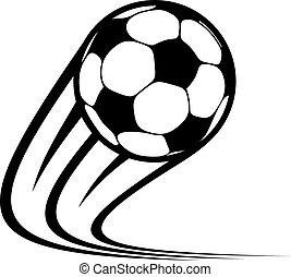 labda, zooming, repülés, levegő, át, futball