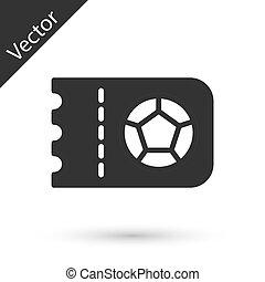 labdarúgás, cédula, fehér, elszigetelt, ikon, vektor, háttér., szürke, vagy, futball
