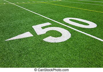 labdarúgás, egyenes, -, ötven, udvar, mező