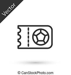 labdarúgás, egyenes, elszigetelt, ikon, fehér, futball, vektor, háttér., szürke, vagy, cédula