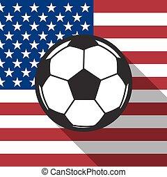 labdarúgás, egyesült államok, egyesült, ikon, vektor, árnyék, lobogó, hosszú, háttér