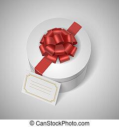 lable, szalag, klasszikus, íj, giftbox, tiszta, piros