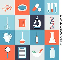 laboratórium orvosi, ábra, ikonok