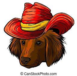 labrador, kutya, vizsla, vektor, szürke, súlyos, kalap, selyem, karikatúra, csípőre szabott