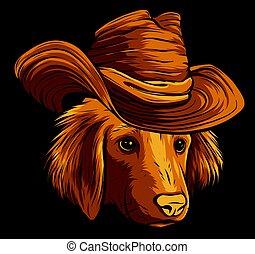 labrador retriever, karikatúra, csípőre szabott, kutya, kalap, vektor