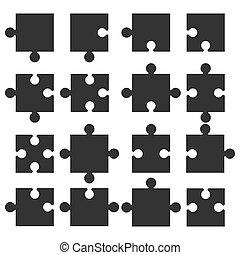 lakás, ábra, rejtvény, jigsaw munkadarab, vektor, icon., design.