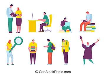 lakás, ábra, set., csoport, vektor, karikatúra, diákok