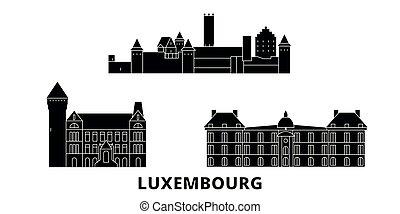 lakás, ábra, utazás, landmarks., luxemburg, jelkép, láthatár, vektor, fekete, nevezetességek, város, set.