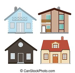 lakás, állhatatos, épület, ábra, vektor, ikon