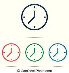 lakás, állhatatos, óra, egyszerű, -, elszigetelt, háttér, vektor, tervezés, fehér, ikon