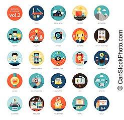 lakás, állhatatos, ügy icons, modern, tervezés, infographics