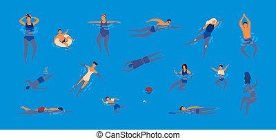 lakás, állhatatos, activities., pool., színes, emberek, öltözött, előadó, férfiak, fürdőruha, batyu, női fürdőruha, víz, vektor, ábra, gyűjtés, karikatúra, úszás, style., swimmers., nők