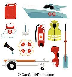 lakás, állhatatos, autózik hajózik, megmentés, felszerelés, isolated., vektor, ábra, élet