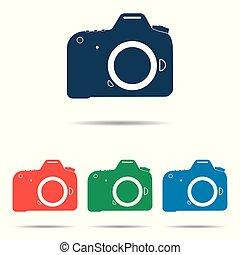 lakás, állhatatos, dslr, egyszerű, fényképezőgép, -, vektor, tervezés, ikon